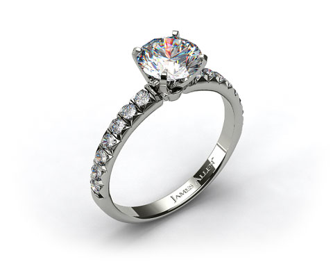 18k White Gold Pave Set Four Prong Diamond Engagement Ring